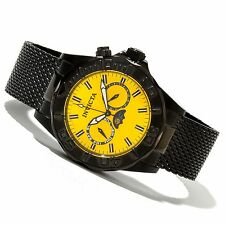 Invicta 80337 Men's Pro Diver Swiss Quartz Analog Yellow Dial Black IP Watch
