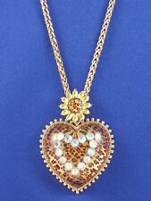 Betsey Johnson Goldtone Yellow Leopard Flower Heart Pendant Long Necklace $65