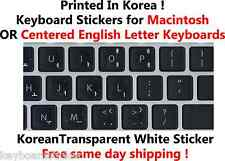 Korean White Transparent Keyboard Sticker for Mac or Centered Windows keyboards