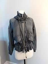 Free People Gray Pewter Hooded Lightweight Jacket Cinched Waist Size XS