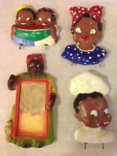 VINTAGE ANTIQUE LOT OF 4 BLACK AMERICANA WALL HANGING CHALKWARE