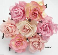 20 Paper Flowers Curly Roses Wedding Headpiece Scrapbook Centerpiece Art G3-0