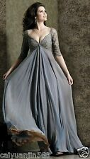 Gray Lace Chiffon Long Mother of the Bride Dresses A-line Wedding Evening Dress