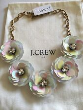 NWT J. Crew Iridescent Sequin Flower Floral Burst Crystal Rhineston Necklace