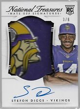 2015 National Treasures Hats Off Stefon Diggs On Card Auto LOGO Patch Rc # /6