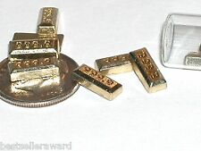 2pc miniature dollhouse tiny little faux Gold bars golden money floating 10mm