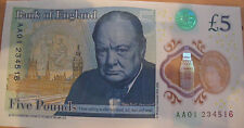AA01 SERIAL NUMBER £5 POUND NOTE.PLASTIC.POLYMER.RARE SERIAL NUMBER