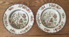 2 Soup Bowls Indian India Tree Orange,Rust,Green,Scallop,Red Trim Copeland Spode