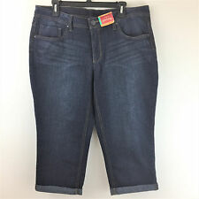 New Faded Glory Capri Pants Womens 16 L XL Blue Dark Wash Denim 5 Pocket Jeans