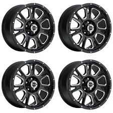 "Set 4 20"" Vision 399 Fury Black Milled Wheels 20x9 6x135mm 12mm Ford F150 6 Lug"