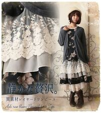 Sweet Lolita Woman Vintage Lace Floral Dress Mori Girl Long Sleeve Cotton #L4