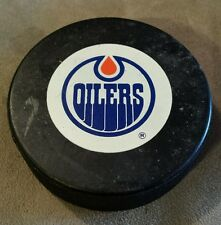 Edmonton Oilers Official N.H.L Hockey Puck Two Sided Logo Trench Mfg. Canada