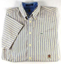 Tommy Hilfiger White Blue Yellow Striped Collared Shirt Size L Short Sleeves