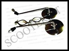 Vespa Round Side Rear View Mirror Set Fixing Clamps Chrome Vbb Vba 150 125
