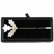 New in box Men's Suit chest buckle brooch metal leaf silver lapel pin formal