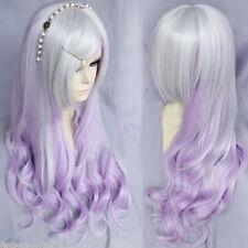Harajuku Silver Purple Anime Wig Long Wavy Curly Heat Resistant Cosplay Wig Hair