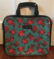 Betsey Johnson Laptop Bag Blue Sequin Rose Floral Black Trim