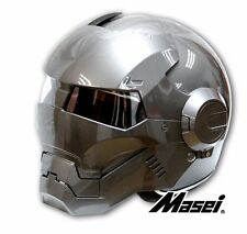 Masei 610 Atomic Man Glossy Grey Iron Flip-Up Bike Motorcycle Helmet M L XL