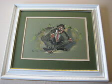 Original Watercolor With Charcoal Clown Golfer, Signed By Nancy M. Kirk & Framed