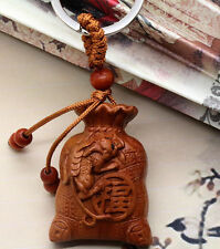 NEW Wood Carving Car/Bag/Purse Keychain,Keyring,Amulet.Happiness Wealthy Pouch