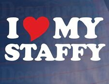 I LOVE/HEART MY STAFFY Dog Owners Novelty Car/Van/Window/Bumper Sticker/Decal