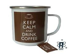 NEW KEEP CALM AND DRINK COFFEE VINTAGE LARGE ENAMEL CAMPING COFFEE MUG CUP