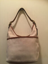 Coach Tan Canvas & Leather Hobo Tote Bag 9873 H:8 L:11 D:5 SD:10