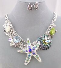 Starfish Turtle Ocean Necklace Set Silver Blue Rhinestone Fashion Jewelry NEW