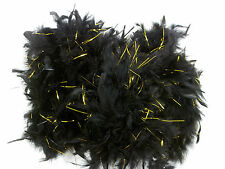 "Black Chandelle Feather Boa Gold Tinsel 72"" 6 Ft Masquerade or Birthday 40 gm"