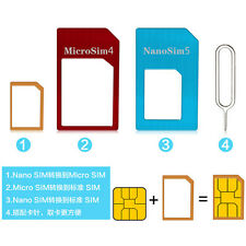 4 in 1 Nano SIM Card to Micro Standard Adapter Converter Set Tool for iPhone