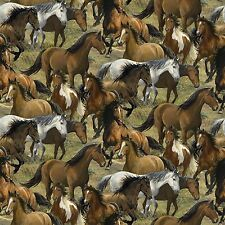 """Wild Wings Rhapsody West Packed Horses 100% cotton 43"""" Fabric by the yard"""