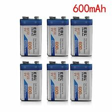 EBL (6PACK) 600mAh 9V Li-ion Batteries 9 VOLT 6F22 Rechargeable Replacement Pack