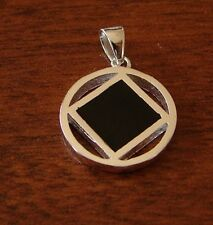 "Sterling Silver Narcotics Anonymous 1"" NA Symbol Black Enamel NEW Pendant 932"