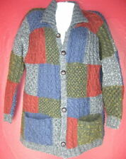 CARRAIG DONN colorful heavy merino wool cardigan SWEATER patchwork  size L