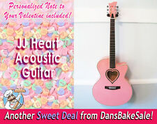 JJ Heart Jumbo Single Cutaway Acoustic Guitar in Playful Pink with Original Box!