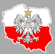 CARTE PAYS POLOGNE POLISH POLAND DRAPEAU 10cm AUTOCOLLANT STICKER AUTO PC030