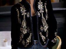 ZARA Velvet Embroidered Jacket Coat Medium M Beaded Embellished