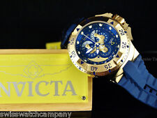 Invicta Reserve BLUE Excursion Swiss Made Chrono Master Calendar 18KGP Poly Strp