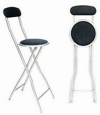 NEW FOLDING BREAKFAST STOOL BAR KITCHEN OFFICE PARTIES BLACK CHROME HIGH CHAIR