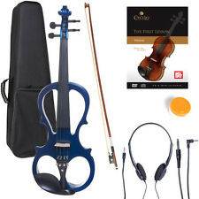 NEW 4/4 Ebony Electric Violin w/Pickup -Blue & Style-1
