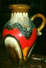 West Germany Pottery Vase pitcher Fat Lava European Beauty Red 10 inches high