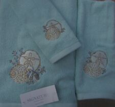 NEW SEASHELL SEASHELLS LIGHT BLUE 3 PIECE TOWEL COLLECTION