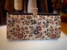 Vintage 1950s Brown Floral Tapestry Clutch/Purse/Handbag