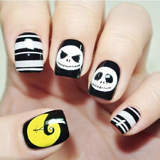 24pcs Halloween Skull Cool Style Short False Fake Nails Art Tip Stickers N3072