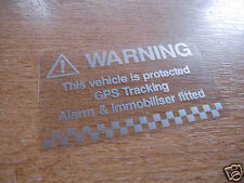 2x Vehicle Alarm warning decals - silver / clear - 75mm x 44mm