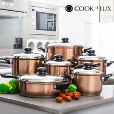 Cookware Set Cook D'Lux Pots and Pans Home Kitchen Stainless Steel (12 pieces)