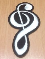 NEW MUSICAL NOTE SCALE CLASSIC WHITE RETRO LOGO IRON ON PATCH SHIRT FABRIC PO279