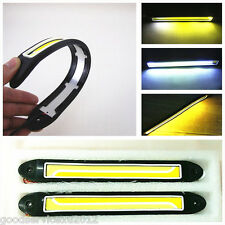 2 X Dual Color COB LED Car Running Light Fog Lamp Strips DRL & Turn Signal Light