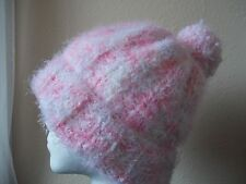 Hand knitted fuzzy & soft beanie/hat with pom pom, white/soft pink