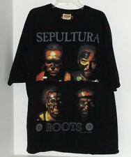 Vintage 1996 Sepultura Roots Bloody Roots T Shirt Black Large Blue Grape